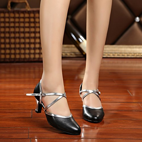 Salsa Ballroom Leather Women's 5 Strap Cross Shoes 5 Black Dance UK MINITOO Silver Latin SXZ080n