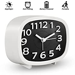 KOEPUO Silent Travel Alarm Clock, Simple Battery Operated Bedside Clock Non Ticking with Night Light for Home Bedroom Kids Men Women