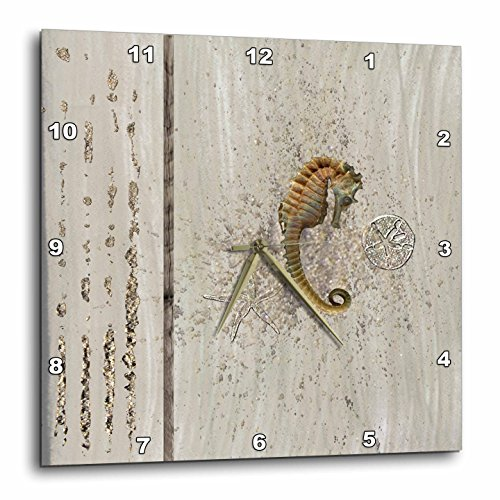 3dRose 3D Rose dpp_182665_1 Beautiful Seahorse, Sand Dollar, and Starfish on Aged Wood-Wall Clock 10-Inch (1) ()