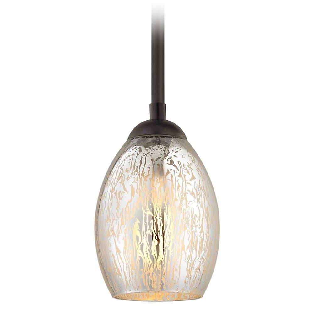 Bronze mini pendant light mercury glass oblong