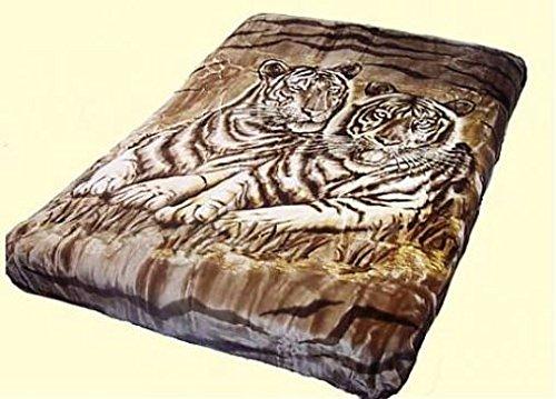 Vivalon Brown White Tigers (BM122) Thick Mink Plush Korean Style Queen Size Luxury Blanket - By Solaron - Thick Tiger
