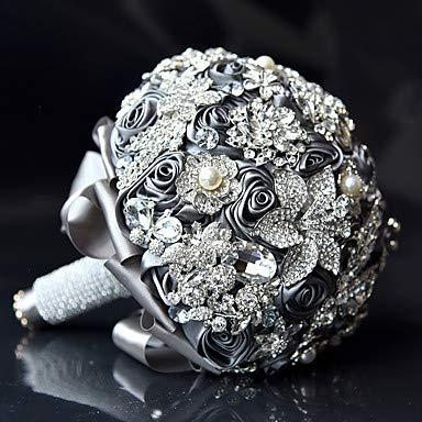 HEEGNPD Wedding Flowers Bouquets Wedding/Wedding Party Crystal/Rhinestone/Polyester 9.84''(Approx.25cm) by HEEGNPD