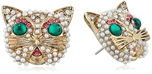 Faux Pearl Button Earrings (Betsey Johnson Gold-Tone Faux Pearl and Crystal Cat Button Stud Earrings)