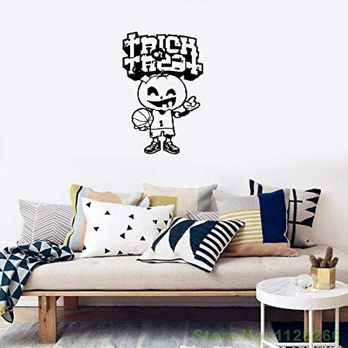 Cexpial Vinyl Wall Art Inspirational Quotes and Saying Home Decor Decal Sticker Halloween Merry Pumpkin Basketball Game Player]()