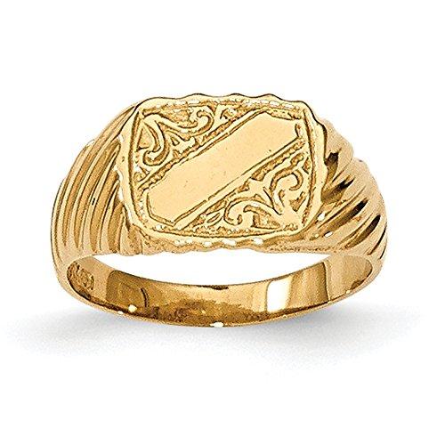 Lex & Lu 14k Yellow Gold Polished Baby Rectangle Signet w/Stripes Ring (Gold Ring Rectangle Baby Yellow)