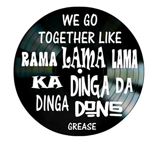 We Go Together song lyrics from the musical Grease on a Vinyl Record Album Wall Art by VinylRevamped