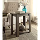 Espresso Finish 2-tier Chair Side End Table with Shelf