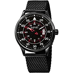 August Steiner Men's Black Case with Red Accented Black Dial and Black Stainless Steel Mesh Bracelet Watch AS8223BK