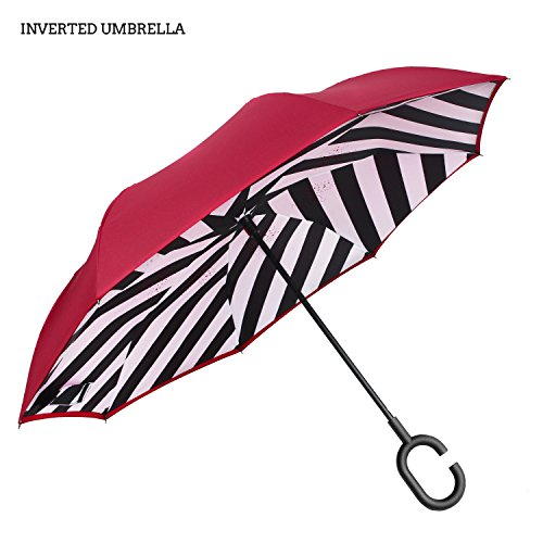 Premium Double Layer Inverted Umbrella For Car By AmbrellaOK Reverse Folding Upside Down C-Shaped Hands Free Handle - Compact Lightweight & Windproof – Ideal Gift Men & Women (Manual-Red-Chambray) (Patio Umbrella See Through)