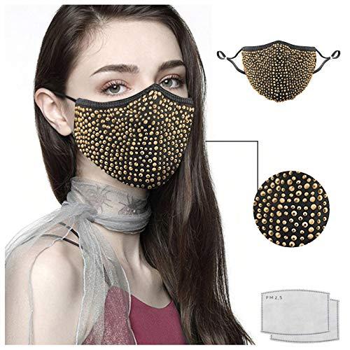 Clacce Femmes Chapeau Réutilisable de Cristaux de Strass de Mascarade d'halloween pour Le Chapeau Peuvent être Nettoyés PM2.5