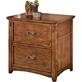 Ashley Furniture Signature Design - Cross Island File Cabinet - 2 File Drawers - Bronze-Tone Hardware - Medium Brown Finish