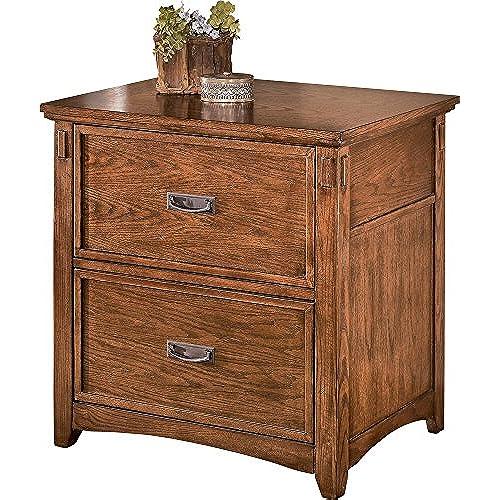 Ashley Furniture Signature Design   Cross Island File Cabinet   2 File  Drawers   Bronze Tone Hardware   Medium Brown Finish