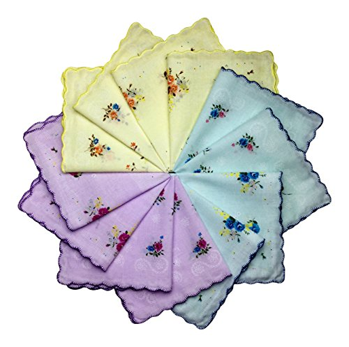 Women's Handkerchiefs 12 Pack Cotton Vintage Inspired Floral Designs (Pastels Mixed (4 Blue, 4 Yellow, 4 Pink))