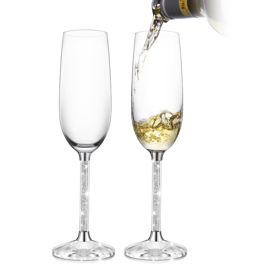 IFOLAINA Champagne Glasses Set of 2 Flutes Lead Free 8 Ounce with Clear Long Crystal Diamond Stem - Birthday, Anniversary or Wedding Gifts