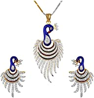 Youbella Multicolor Metal Pendant Necklace With Earrings For