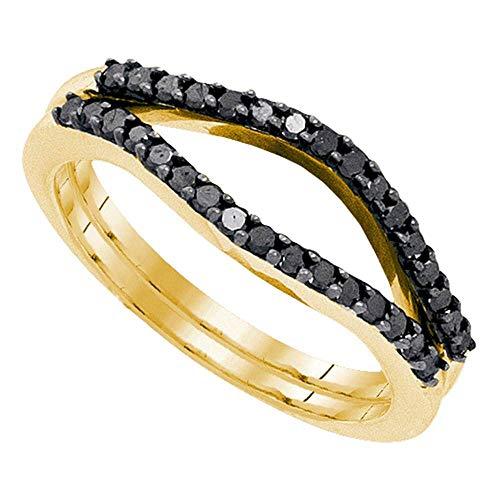 Mia Diamonds 10kt Yellow Gold Womens Round Black Color Enhanced Diamond Ring Guard Wrap Solitaire Enhancer (.33cttw) (I2-I3)- Size -7