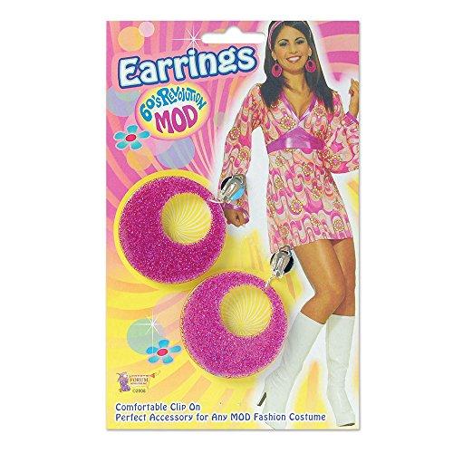 Mod Hippie Dress - Bristol Novelty BA1084 Pink Mod Glitter Earrings, One Size