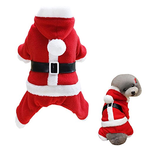 Alroman Dog Santa Claus Costume Dog Christmas Clothes Pet Santa Claus Suit Dogs Christmas Shirts Pet Red Clothing Doggie Winter Hoodie Pet Red Coat Cat Xmas Costume New (Santa Suit For Dogs)