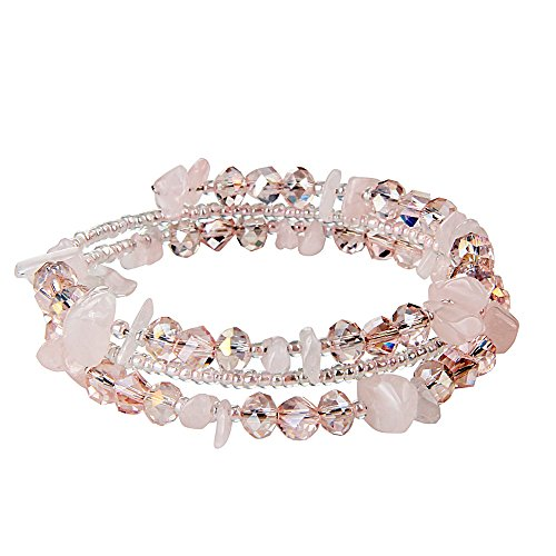 Teniu Girls Fashion Crystal Beaded Bracelet Charm Bohemian Bracelet Vitality Layered Stretch Bracelets for Women Girls Jewelry (pink)