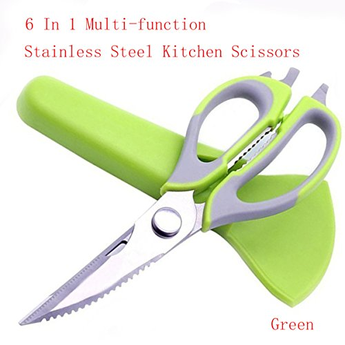 Sharp Kitchen Shears Premium with Multipurpose Cooking Poultry Scissors For Fish Chicken BBQ Vegetables Poultry Bone Cutting Tools (Green) ()