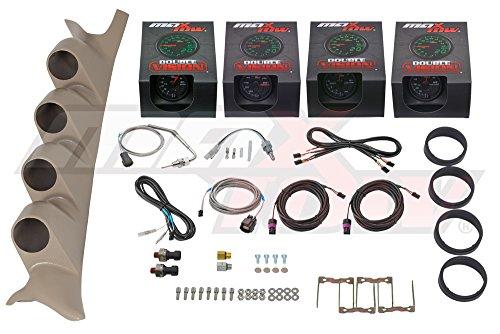 Black/Green MaxTow 1999-2007 Tan Ford Super Duty Power Stroke Double Vision Diesel Gauge Package w 60 PSI Boost, 1500 EGT, Transmission Temp, 100 Fuel (Custom Gauge Package)
