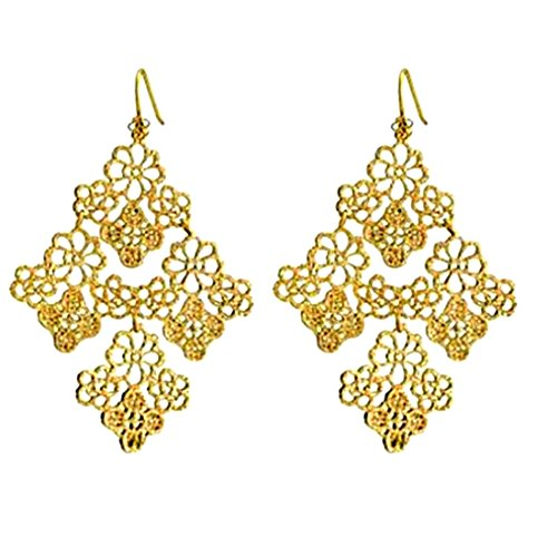 Gold Square Greek Design (Peony.T Women's Bohemian Filigree Chandelier Hollow Lace Pattern Statement Dangle Earrings in Gold Color (Square))