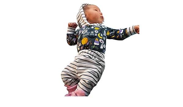 Niños Halloween Carnaval,Sonnena ❤ Niño pequeño de los bebés de la historieta de la muchacha con capucha mameluco a rayas mamelucos de Halloween Conjunto ...