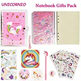 Unicorn Notebook Journal Diary Gifts Creative Wirebound Composition Subject Packs School Supplies with Sequin PVC Cover Unicorn Stickers Pen Hanging Drop Cute Gift Ideas for Girls Kids(A5)