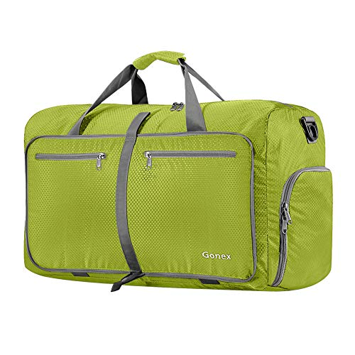 Gonex 60L Foldable Travel Duffle Bag for Luggage, Gym, Sport, Camping, Storage, Shopping Water & Tear Resistant Yellowish Green