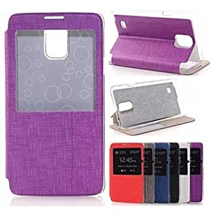 ZXC Samsung Galaxy Note 4 compatible Graphic/Solid Color/Special Design/Transparent Plastic/PU Leather Full Body Cases , Purple