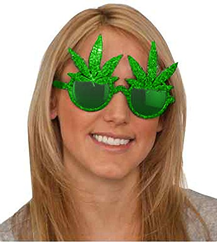 Loftus International Star Power Glitter Pot Leaf Round Lens Glasses, Green Lens, One Size