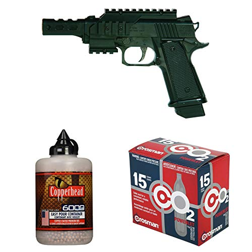Co2 Pistol Bundled with Crosman 12 Gram CO2 (15 Cartridges) and Crosman Copperhead 6000 Copper Coated BBS Cal. 4.5mm in a Bottle ()