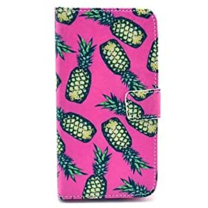 PEACH Yellow Pineapple Pattern on Rose PU Leather Full Body Case for Samsung S5 I9600