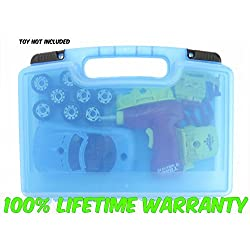 Liberty Imports World Racing Car Pieces & Tool Drill, Lights Carrying Case- Stores Dozens Of Take-A-Part Toys - Durable Toy Storage Organizers By Life Made Better- Blue