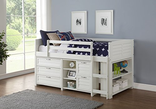 White Twin Loft Bed with Dresser and Bookshelf with Storage