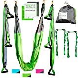 Aerial Yoga Swing – Gym Strength Antigravity Yoga Hammock – Inversion Trapeze Sling Equipment with Two Extender Hanging Straps – Blue Pink Grey Swings & Beginner Instructions (Green and Platinum) Review
