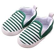 Amiley Toddler Infant Baby Boy Girl Stripe Sneaker Prewalker Soft Crib Shoes (Size 11 (US:2.5---0~ 6 Month), Green)