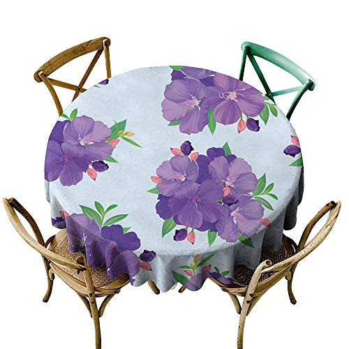 SKDSArts Table Cloth for Outdoor Seamless Pattern with Beautiful Purple Princess Flower or tibouchina urvilleana and Leaf on Blue Background D50,for Accent Table