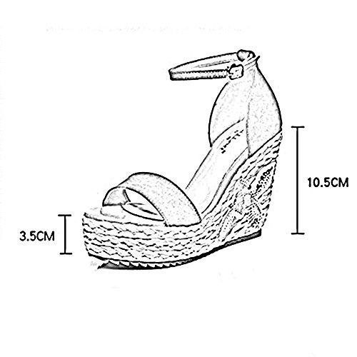 Sandals ZHIRONG Women's Summer Slope Fashion Waterproof Platform Embroidery Woven High Heels Bohemia Thick Bottom Beach Shoes 10.5CM (Color : Yellow, Size : EU36/UK3.5/CN35) Yellow