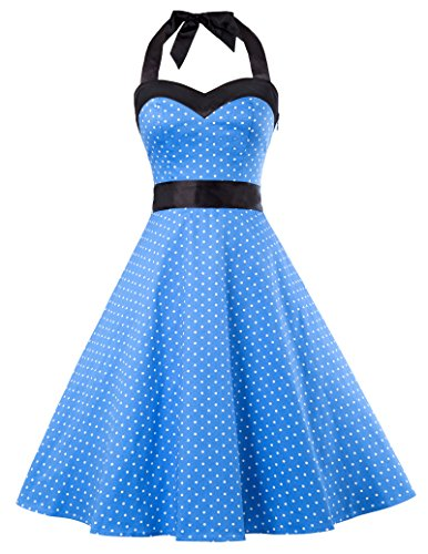 GRACE KARIN Women Vintage 50s Tea Party Swing Dresses with Belt M Blue CL10496-5 (Sweetheart Dresses Top)