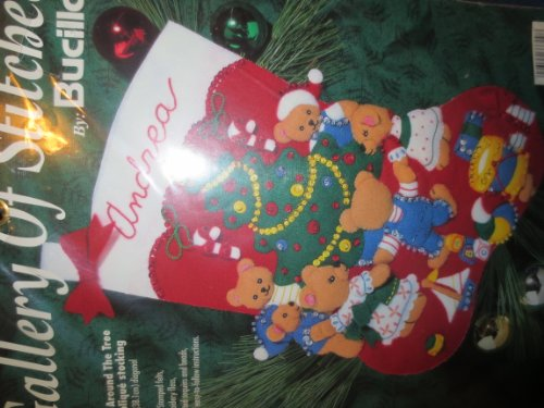 Bucilla Teddy Bear (Teddies Around The Tree Felt Applique Christmas Stocking -- teddy bears around decorated Christmas)