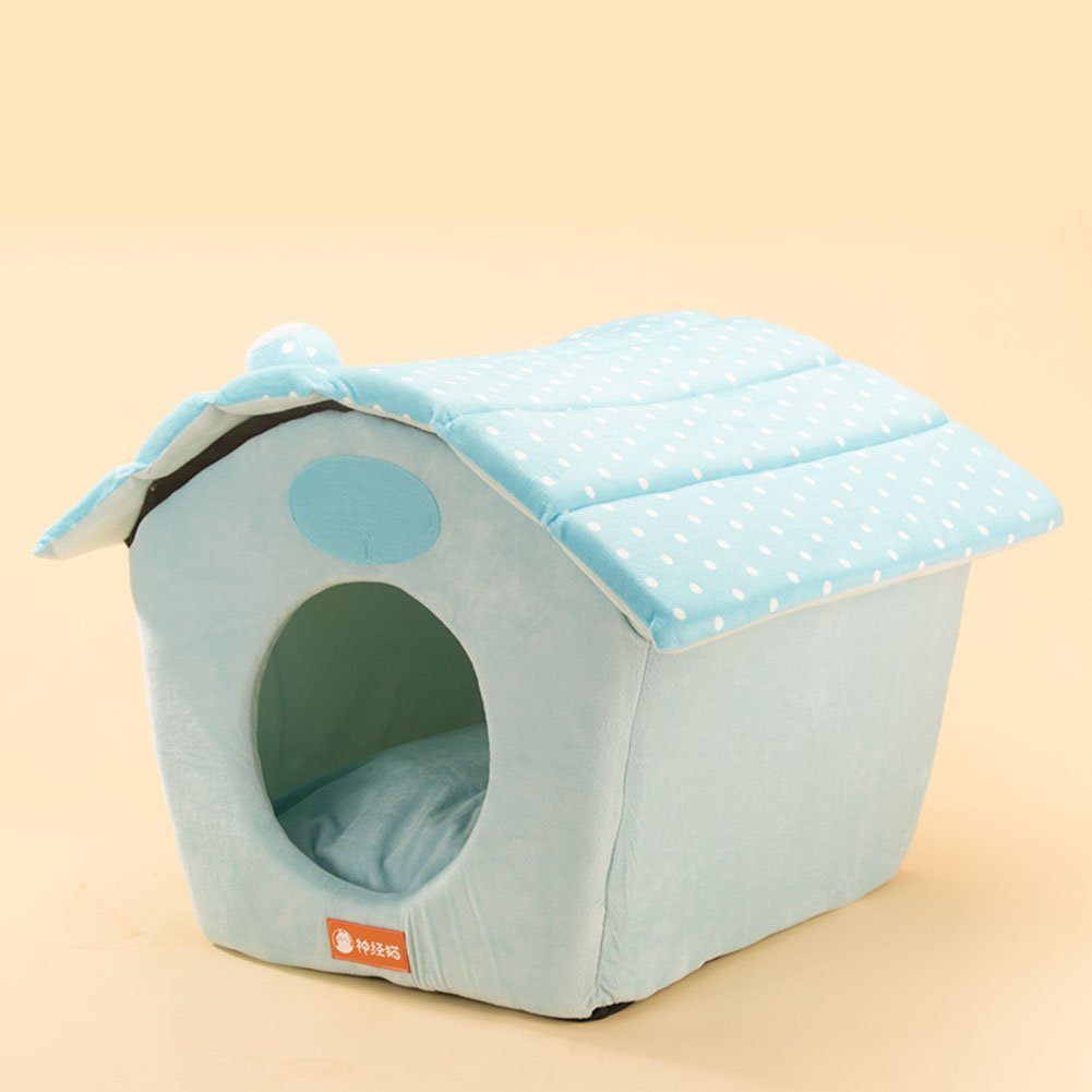 Wangs Polka Dot kennel Removable and washable winter warm dog bed four seasons pet nest pad and kennel-B 50x45cm(20x18inch)