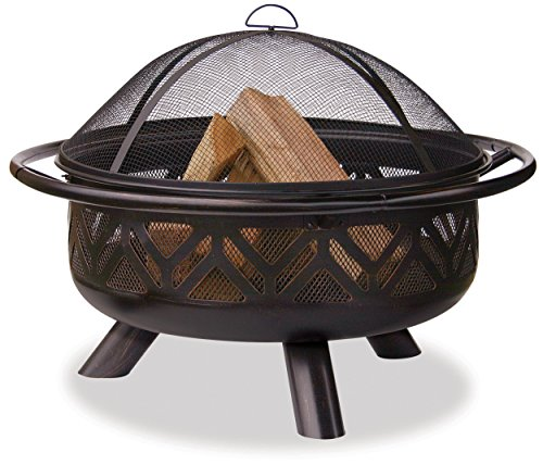 Uniflame WAD1009SP Oil Rubbed Outdoor Firebowl with Geometric Design - Easy loading and tending Easy Lift Spark Arrestor Steel grate improves air flow - patio, fire-pits-outdoor-fireplaces, outdoor-decor - 517dvNI3hUL -