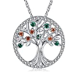 MEGA CREATIVE JEWELRY 925 Sterling Silver Family Tree of Life Pendant Necklace for Women Made with Swarovski Crystal, Women Gifts