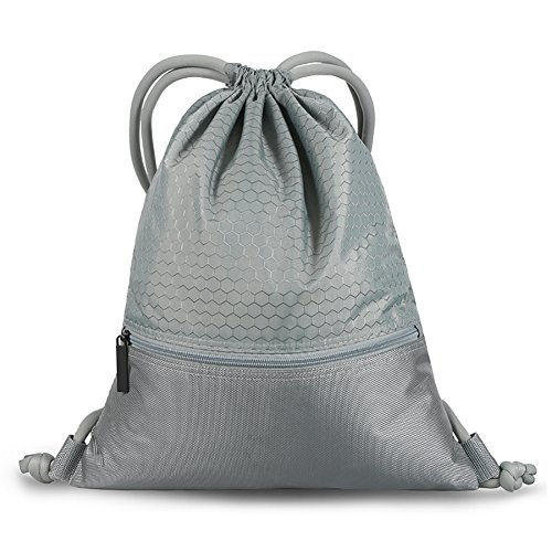 Backpack Waterproof Sackpack Double Sturdy Sports Backpack 2 Sizes(Gray-M) ()