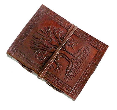 "FABIYANO Embossed 6"" Celtic Tree of Life Leather Journal Diary Travel and Thought Book Bound Notebook Travel"