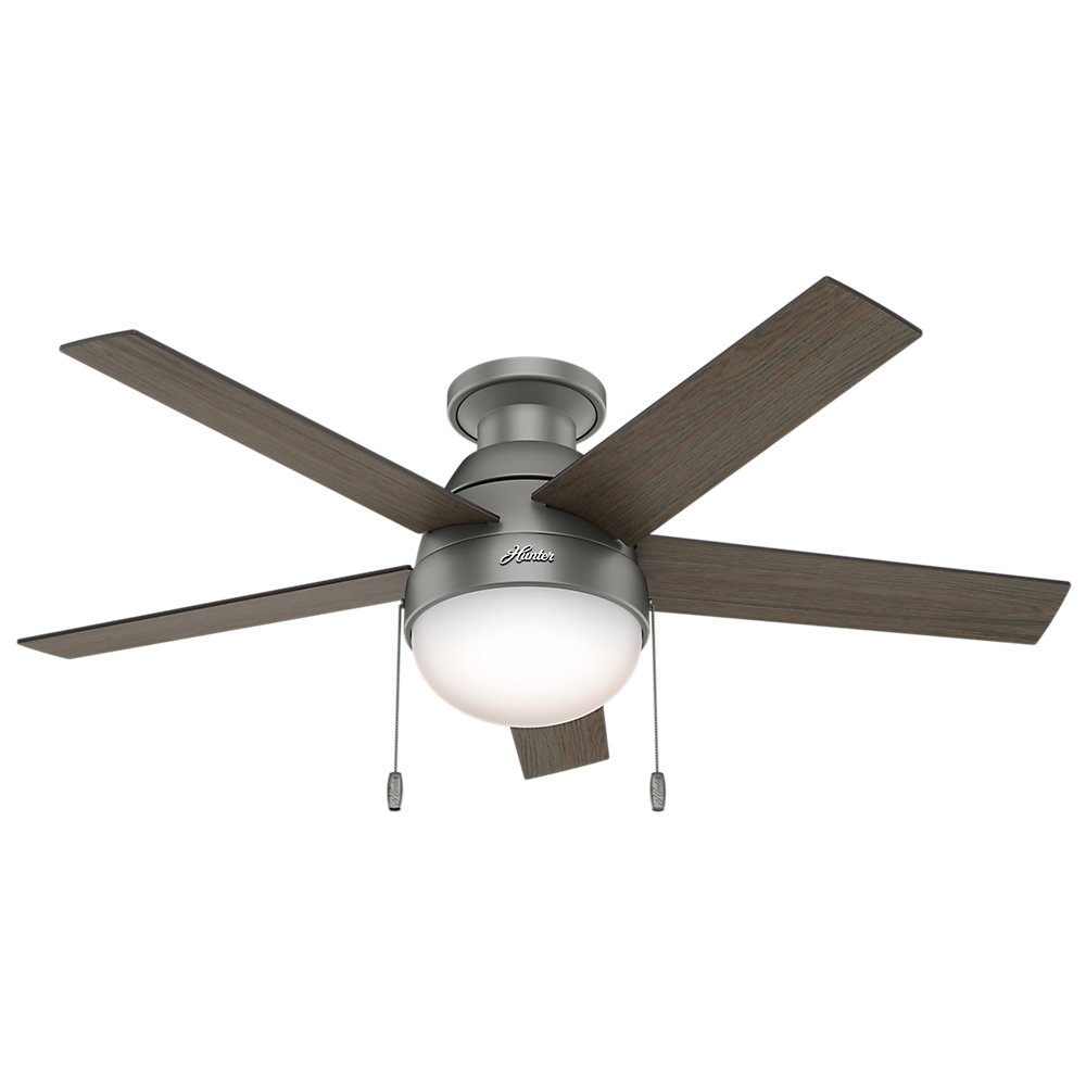 Hunter 59270 anslee low profile matte silver ceiling fan with hunter 59270 anslee low profile matte silver ceiling fan with light 46 amazon mozeypictures Image collections