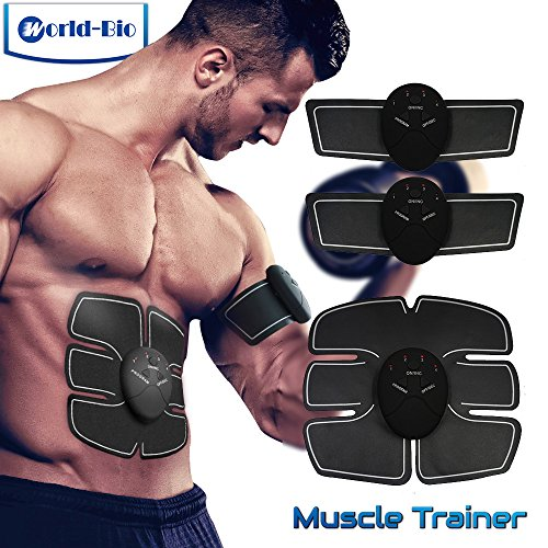 WORLD-BIO ABS Stimulator Abdominal Muscle Toning AB Belt, Slimming Trainer Sculptor Toner, Arm Leg Waist Fitness Training Gear, Portable Wireless Body Exercise Workout for Men Women Home Gym Office (Slimming Massage Belt)