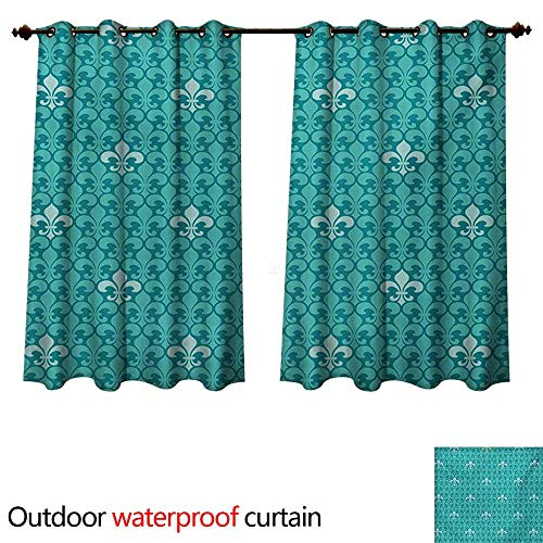 - WilliamsDecor Turquoise Outdoor Ultraviolet Protective Curtains Fleur De Lis Pattern Ancient Lily Ornate Medieval Interior Monochromic Art W96 x L72(245cm x 183cm)