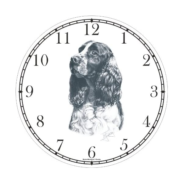 English Springer Spaniel Dog (MS) Wall Clock by WatchBuddy Timepieces (White Frame) 2
